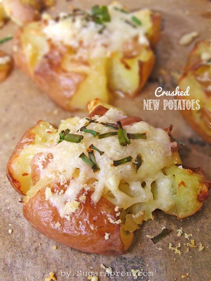 Crash New Potatoes   https://www.sugarapron.com   #recipes #potatoes #parmesan