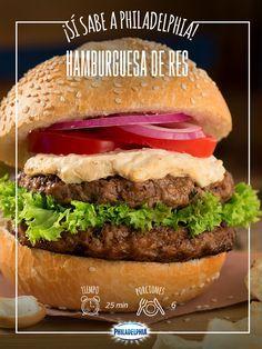 Consiente a tu pareja con esta deliciosa receta: Hamburguesa de res. #quesophiladelphia  #quesocrema #philadelphia #hamburguesa #carne #antojo #receta