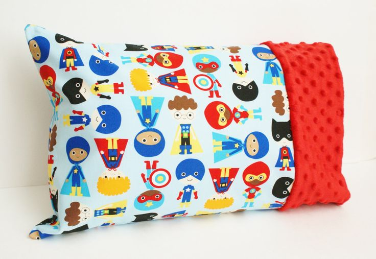 Superhero Kid Toddler or Travel Pillowcase - Red Minky and Cotton Small Pillow Case - Boy Preschool Gift - For 12x16 or 13x18 Inch Pillow by GrandmasChalkboard on Etsy https://www.etsy.com/listing/385368444/superhero-kid-toddler-or-travel
