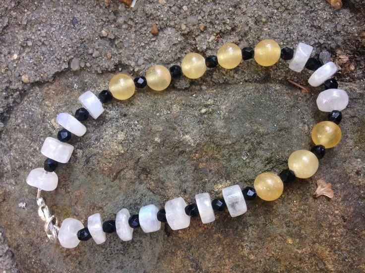 Moonstone & Yellow Jade Bracelet by 100PercentBeads on Etsy