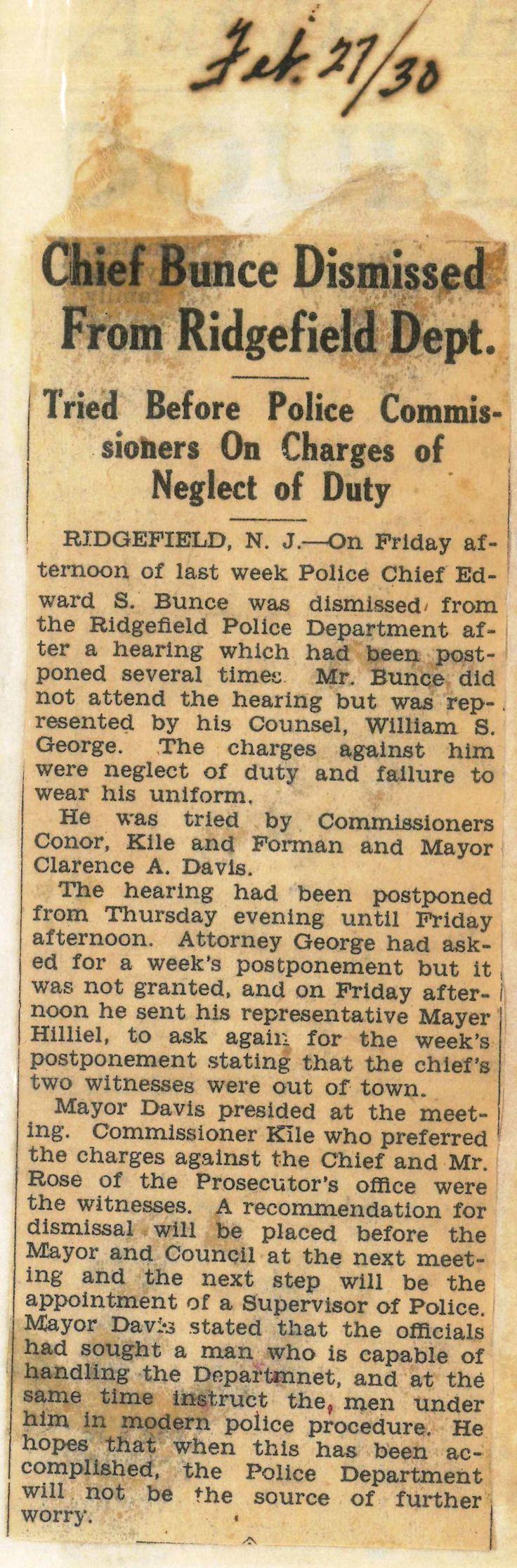 2/16/15 - Chief Bunce Dismissed