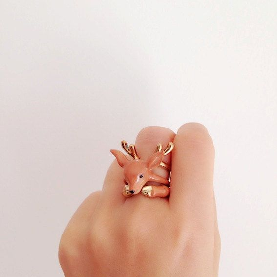 Omg! I so love is! daintyme Enamel Deer Ring Set . Animal ring by DAINTYmeBOUTIQUE