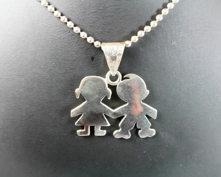 925 Silver Chain >> Kids Holding Hands Sterling Silver Necklace on Silver ...