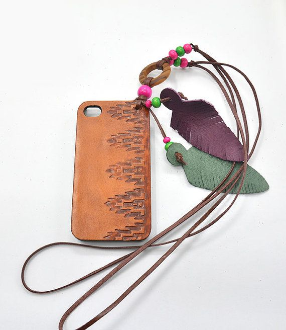 Boho Phone Case, Leather Phone, Indie Accessories, Stamped Leather Phone Accessories, Aztec Case with Lanyard for Iphone 5 (IP53BN001LY) on Etsy, $48.00
