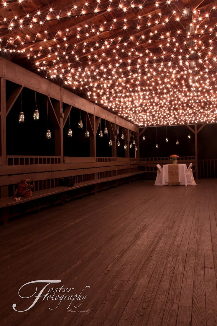 "West Virginia Country Barn Reception. Beautiful! Call ""Chairital Bliss"" these linens and lights, and ""Foster Fotography"" for the beautiful, artistic pictures! ceiling lights."