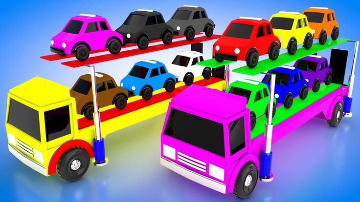Colors for Children to Learn with Cars Lifting Truck Transport Vehicles ...
