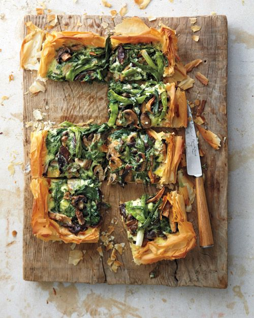 Repin if you go meatless on Mondays or every day! Mushroom, Spinach, and Scallion Tart, Wholeliving.com #vegetarian #meatless