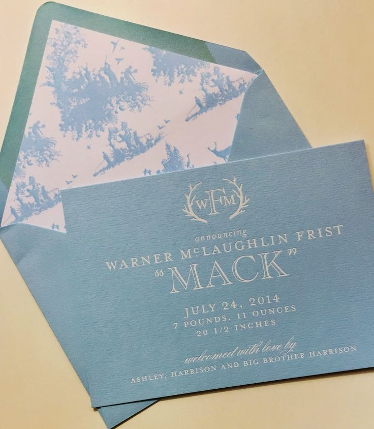Sweet birth announcement with an antler monogram and baby blue toile envelope liner I Custom by Nico and Lala