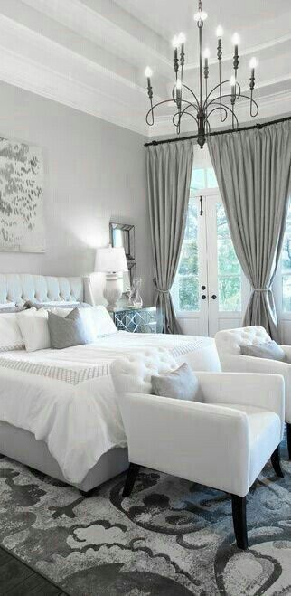 Master Bedroom Décor - I like the mix of grey and white. The rug and bedspread are cute