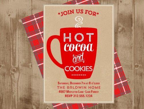 Hot Cocoa Party Invitation Printable   Christmas Tartan Plaid   Hot Chocolate Bar