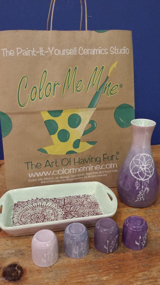 Dream catcher sake set made at Color Me Mine Bethlehem PA