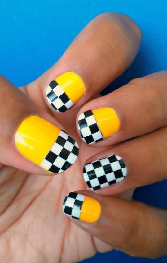 Taxi Cab themed nails #Jamberry #NailShields #NailArt - 16 Best Nascar Nails Images On Pinterest Nascar Nails, Finger