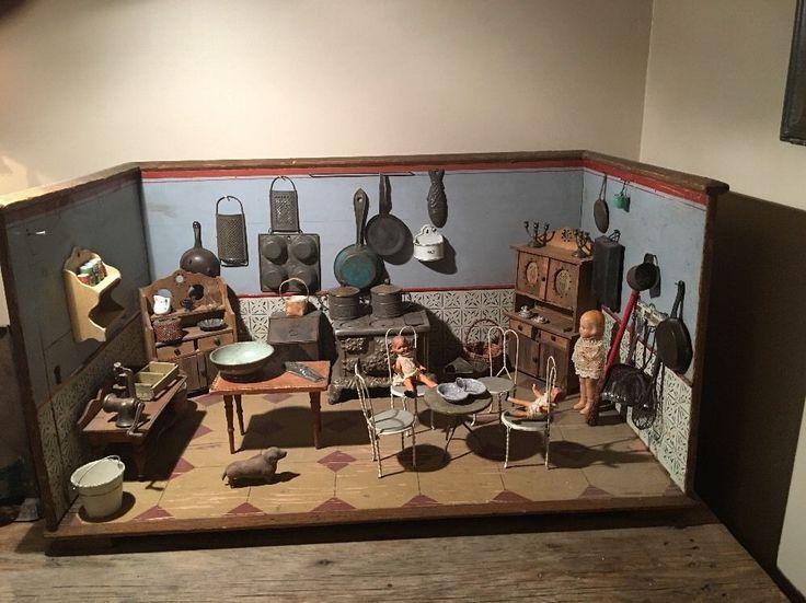 Antique Hand Made Folk Art German Kitchen Doll House Room
