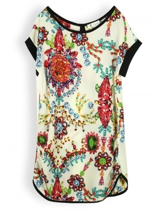 white short sleeve round neck pullover print chiffon dress
