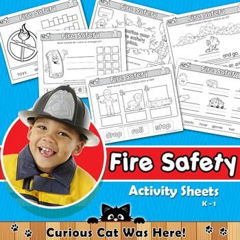 Fire safety - activity sheets for kindergarten.  #firesafety