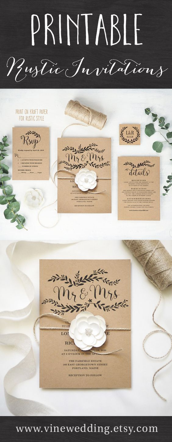 RUstic DIY wedding ceremony invitation with twine and flower, nation wedding ceremony concepts on a price range