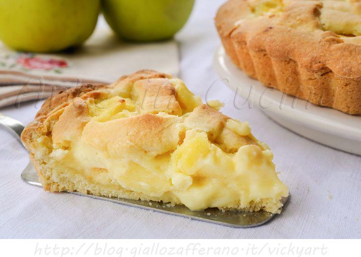 Crostata con mele e crema pasticcera, ricetta dolce da merenda, colazione, ricetta facile, dolce di pasta frolla con mele a pezzi, dolce con frutta fresca di stagione