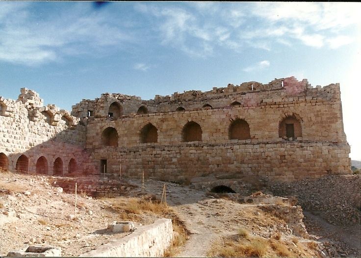 This is Kerak Castle in southern Jordan. Built in 1132 AD, by Baldwin I, Crusader King of Jerusalem.  The castle is mentioned in an Orlando Bloom movie - I forget the name. The castle was eventually captured by Saladin in 1188 AD.