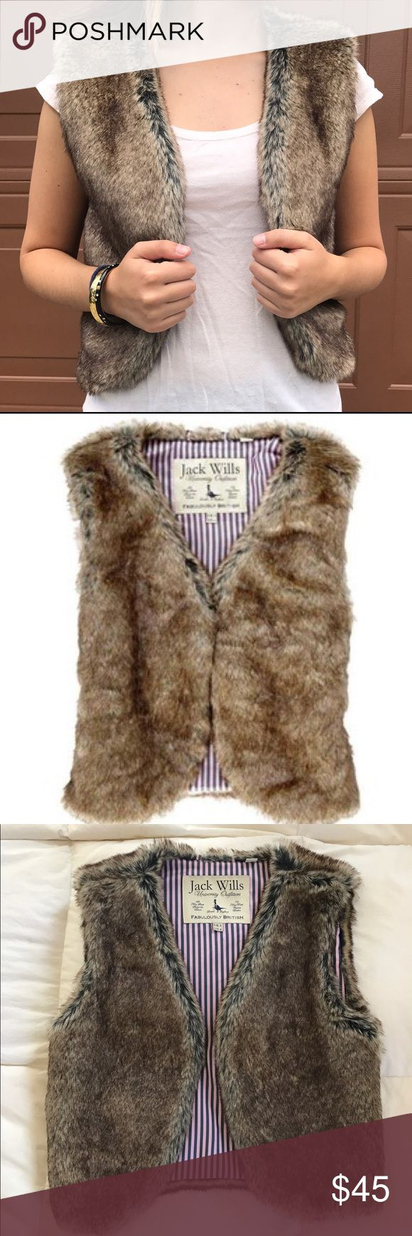 Jack Wills Fur Vest Faux fur vest in pristine condition, worn once. Fitted cut that can be paired with flannel and jeans for a preppy vibe. Jack Wills Jackets & Coats Vests