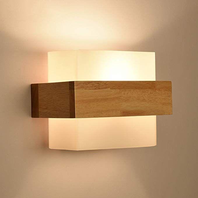 En Simple À La Verre Bd Chambre Lampes Moderne Bois Applique Murale b7gm6IYfyv