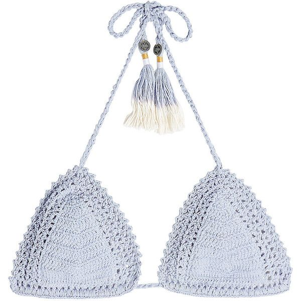 She Made Me Crochet Triangle Bikini Top ($125) ❤ liked on Polyvore featuring swimwear, bikinis, bikini tops, blue, triangle bikinis, triangle swimwear, blue triangle bikini, crochet swim top and blue bikini top
