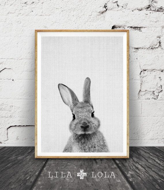 Rabbit Print, Woodlands Nursery, Rabbit Wall Art Decor, Black and White Animal…