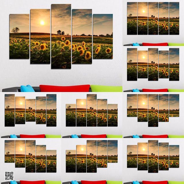 Онлайн магазин Smart Choice: Декоративно пано за стена от 5 части - Залез над с...