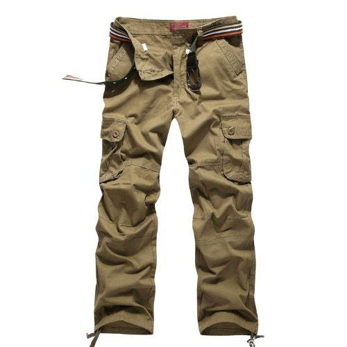 Pantalon Homme Cargo Essential Men Fashion Poches Militaire Army Yellow