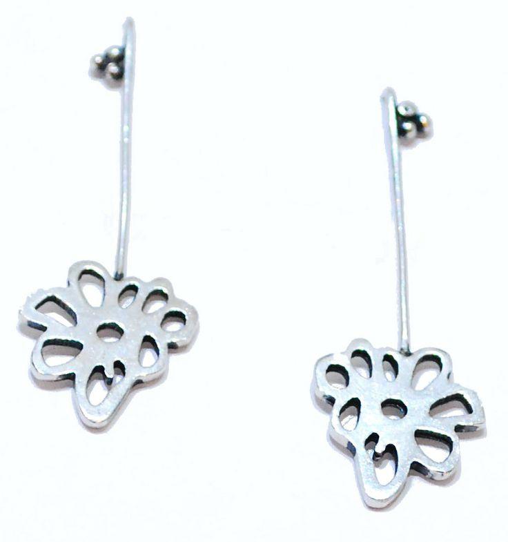 Flower Earring | Rosie May | Jewellery Designer #silver #contemporary #unique #London  #designer #jewellery  #NudeJewellery