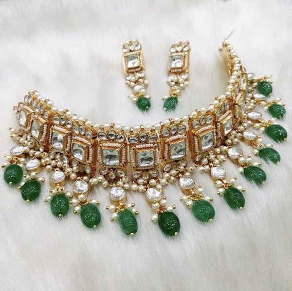 Emerald Green Kundan Choker