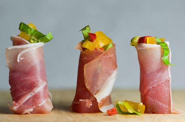 Tuna and Ham Rolls with Tomato Pepper Relish Recipe