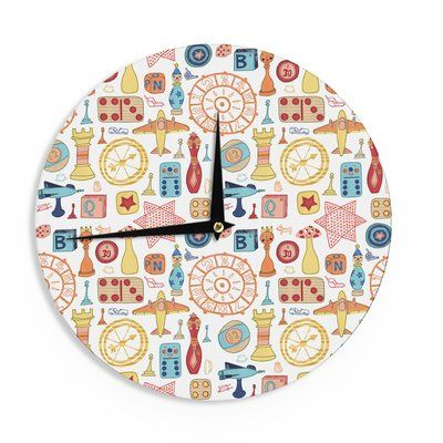 "East Urban Home Jane Smith 'Vintage Games' 12"" Wall Clock"