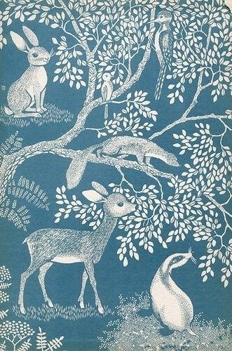 illustration, papier peint, forêt, animaux, bleu, blanc, faon, lapin, belette, pic vert, fougères