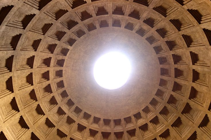 Sun pouring through the oculus in the pantheon.
