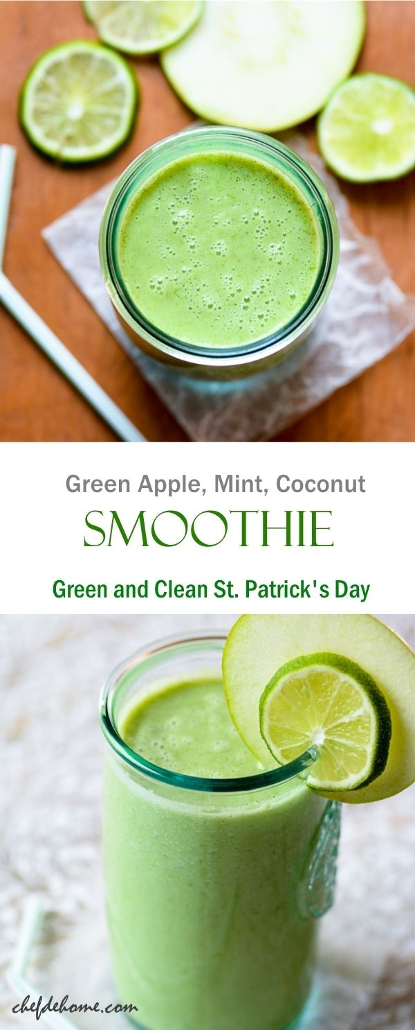 Go Green - Apple, Mint, and Coconut Milk Smoothie. This 5-ingredient vegan smoothie will make you crave smoothies for rest of the season! It is that delicious!