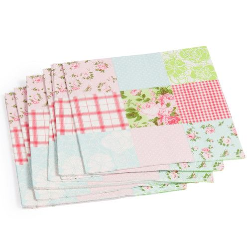 Pak van 20 servetten patchwork Floral