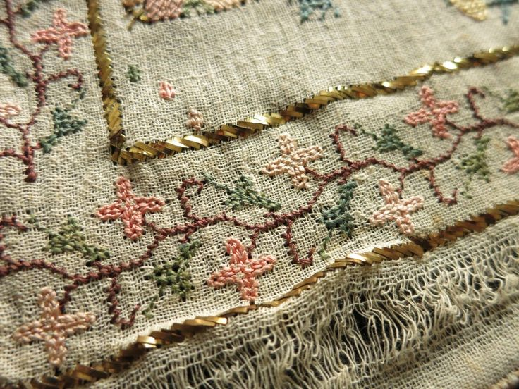 Antique Ottoman Turkish Silk Embroidery Towel Yaglik Metallic Accents 19x50 | eBay