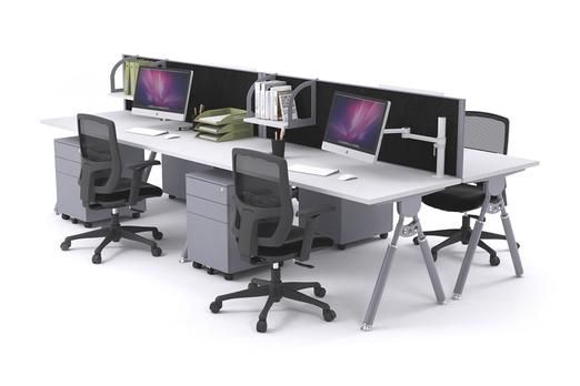 Elements 4 Person Workstation Double Sided With Screens Silver Leg.The 4 person Elements workstation is the perfect desking solution for open plan offices of all sizes. This piece of collaborative furniture allows employees to be in a communal environment while maintaining privacy with the acoustic desk screens. The Elements desking system is height adjustable to suit all workers and has silver powder coated aluminum legs.