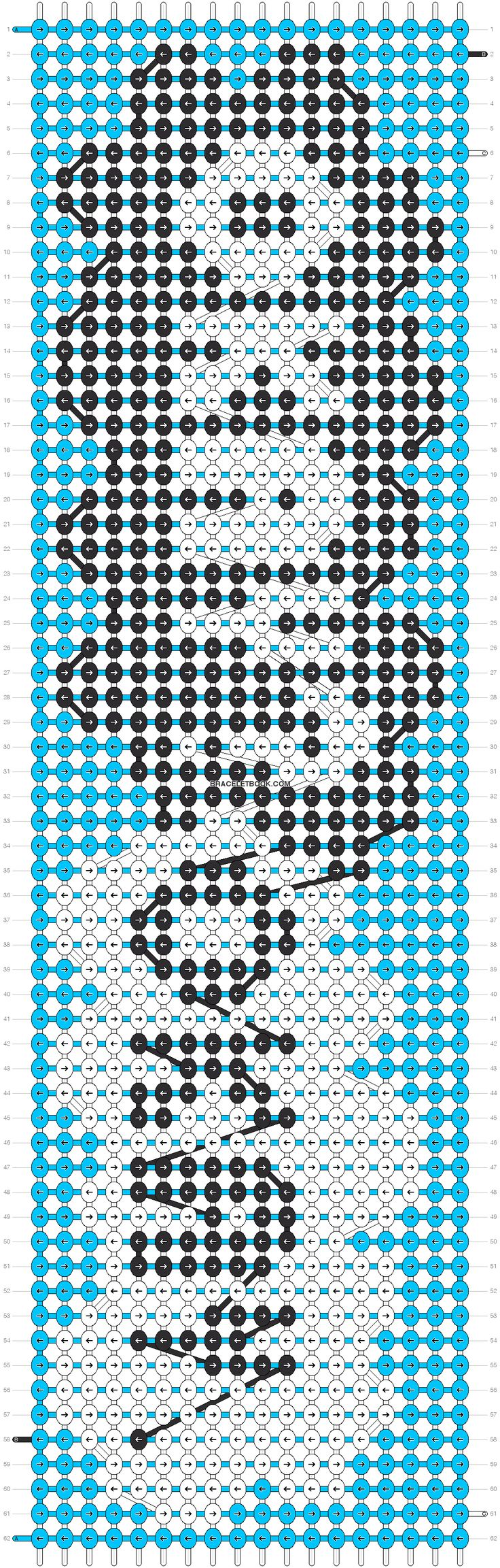 Fault in out stars friendship bracelet pattern number 13194 - For more patterns and tutorials visit our web or the app!