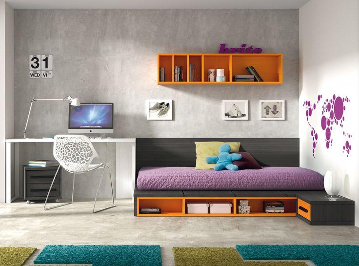 MODELO BRITE Dormitorio juvenil con mesa estudio y cama tatami Antes: 1.414 € Ahora ...