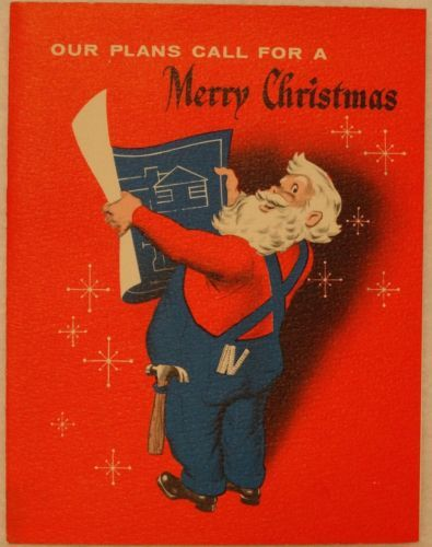 #1222 50s Santa the Carpenter Reads Blueprints-Vintage Christmas Greeting Card