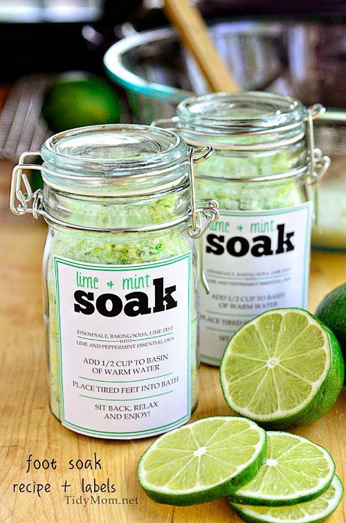 DIY foot soak recipe: counteract the stress of tired, swollen, achy feet recipe and free printable label at TidyMom.net