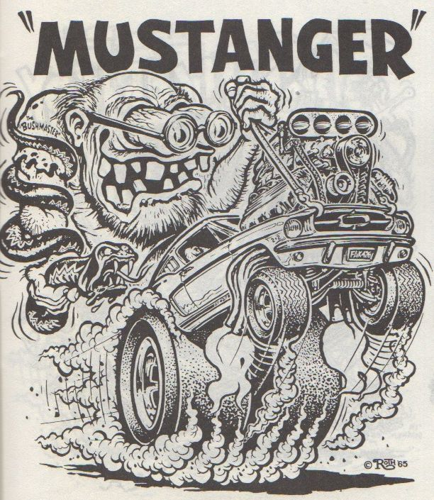 """""""Mustanger"""" by Ed Newton for the Ed """"Big Daddy"""" Roth Studios, 1965. Originally published in Big Daddy Roth's Coloring Book circ 1960s. Scanned from Weirdo Number 11, Last Gasp Eco-Funnies, Fall 1984"""