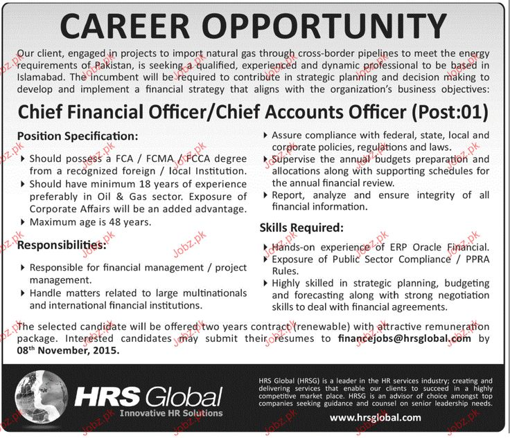 Chief Financial Officer Or Chief Account Officer Jobs  Chief