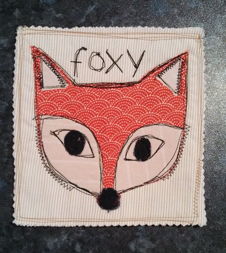 Fox mug rug, applique, thread sketch, free motion. Upcycled St Vinnies clothes.