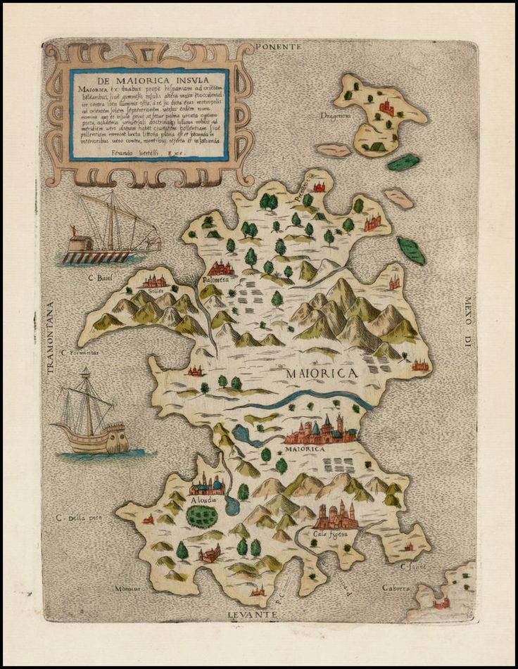 Old map of Mallorca Spain by