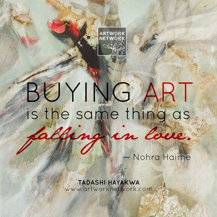 """Buying art is the same thing as falling in love."" (Artwork by Tadashi Hayakawa) #artquote"