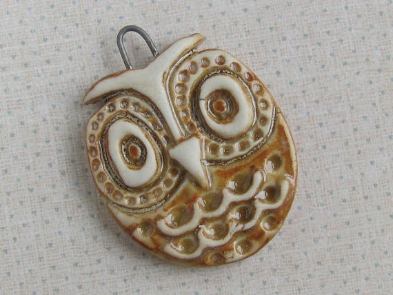 Ceramic Owl Pendant Ceramic Beads and pendants by marlasmud