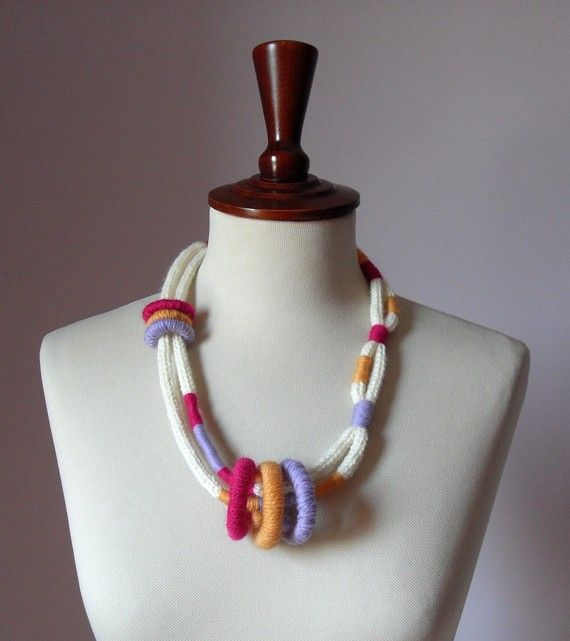 Knitted Necklace White Cream Pink Lilac Orange  Fiber by Silvia66, $50.00