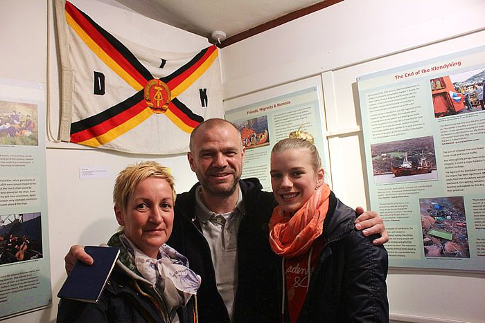 Klondyker Frank Hempel and his family at the exhibition launch. Frank comes to Scotland from Germany every year on holiday